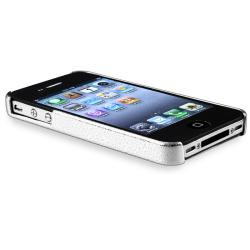 INSTEN Silver Chrome Phone Case Cover/ Yellow Headset Dust Cap for Apple iPhone 4/ 4S