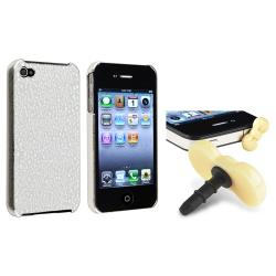 Silver Chrome Case/ Yellow Headset Dust Cap for Apple iPhone 4/ 4S