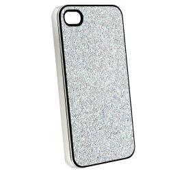 Silver Glitter Case/ Yellow Headset Dust Cap for Apple iPhone 4/ 4S