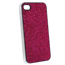Hot Pink Bling Case/ Yellow Headset Dust Cap for Apple iPhone 4/ 4S