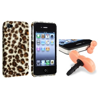 Brown Leopard Case/ Pink Headset Dust Cap for Apple iPhone 4/ 4S