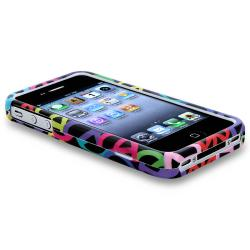 Black Rainbow Peace Sign Case/ Headset Dust Cap for Apple iPhone 4/ 4S