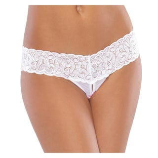 Beston White Mesh Crotchless Thong