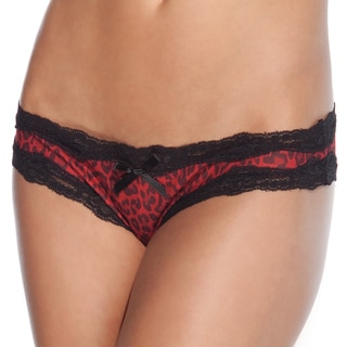 Coquette Red Leopard Crotchless Panties