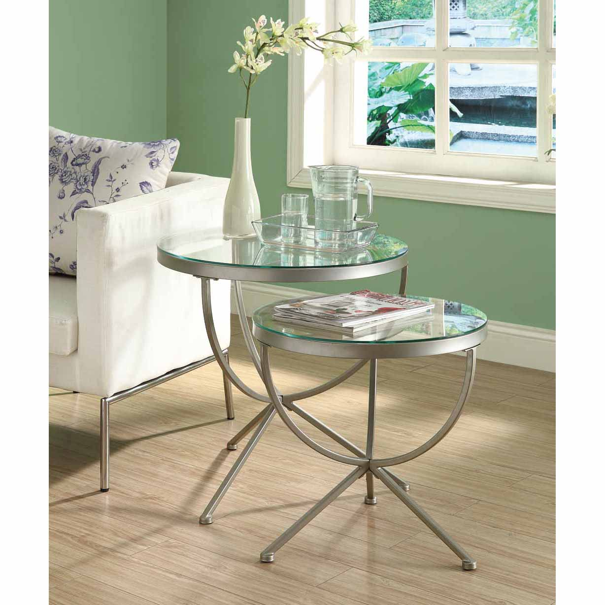 Satin Silver 2 Piece Nesting Table Set With Tempered Glass