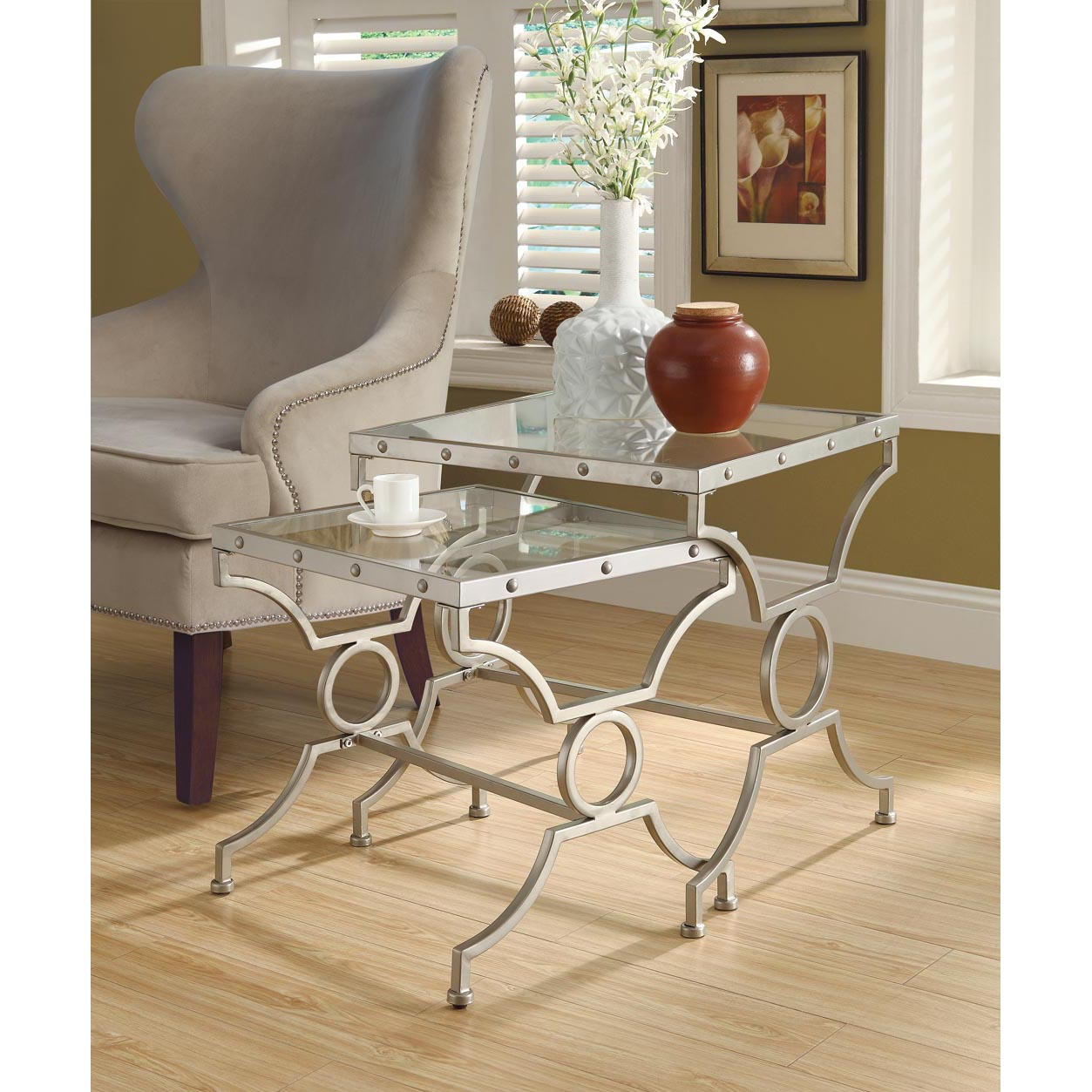Satin Silver 2-piece Nesting Table Set with Tempered Glass
