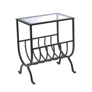 Stardust Brown Metal Magazine Table with Tempered Glass