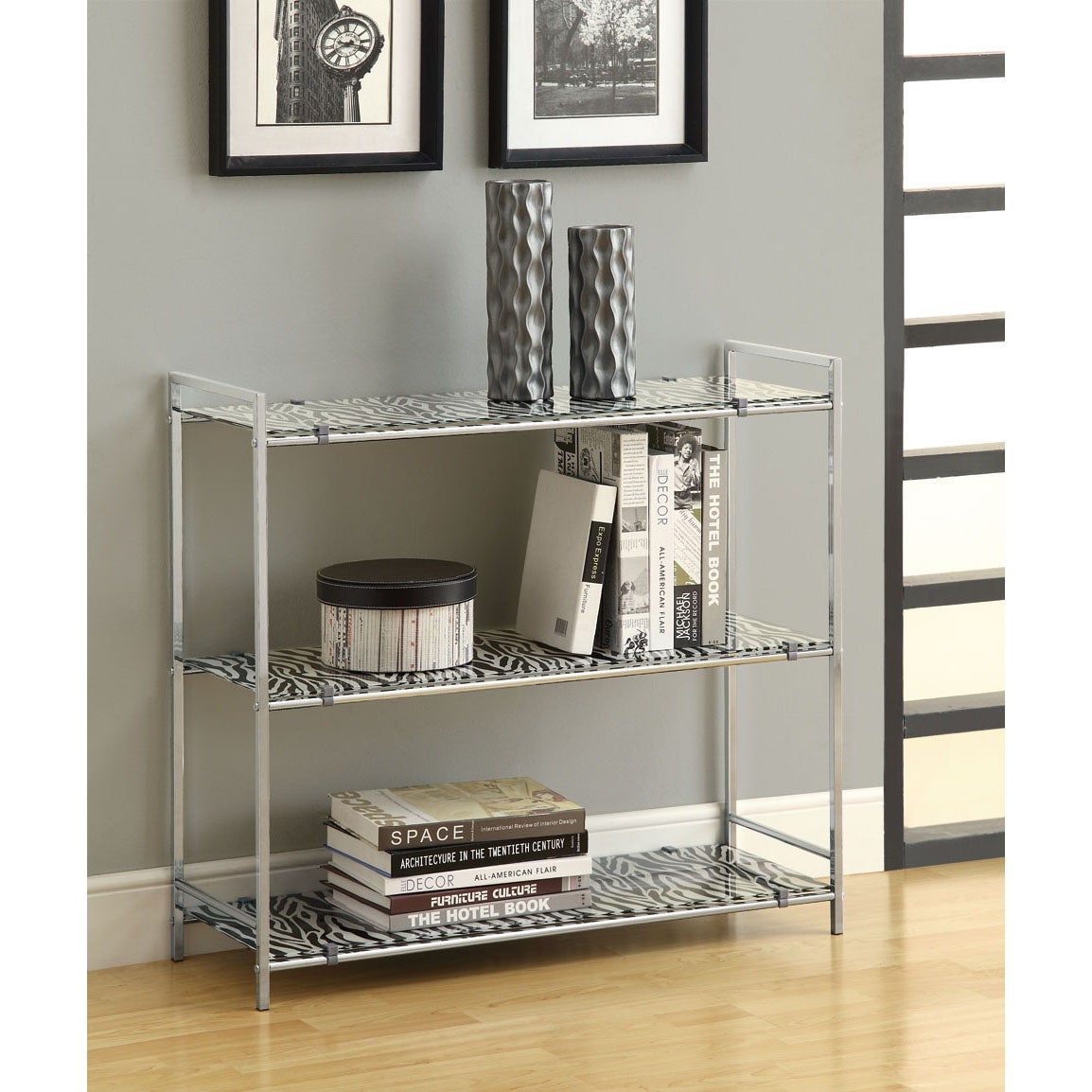 Chrome Metal 30-inch Etagere with Zebra Tempered Glass