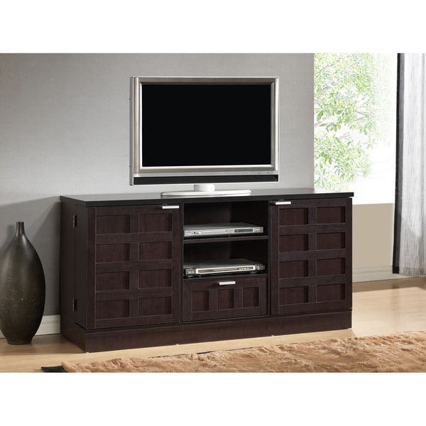 Tosato brown modern tv stand and media cabinet console for Tv media storage cabinet