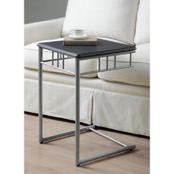 Black/ Silver Metal Snack Table