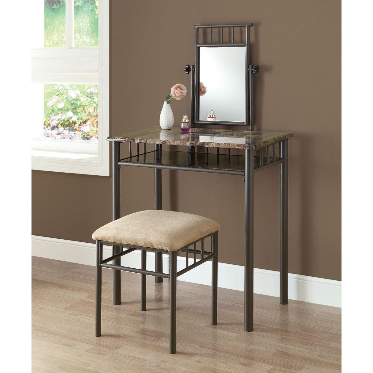Cappuccino Marble Bronze Metal 2 Piece Vanity Set 14344338