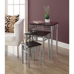 Cappuccino/ Silver Metal 3-piece Nesting Table Set
