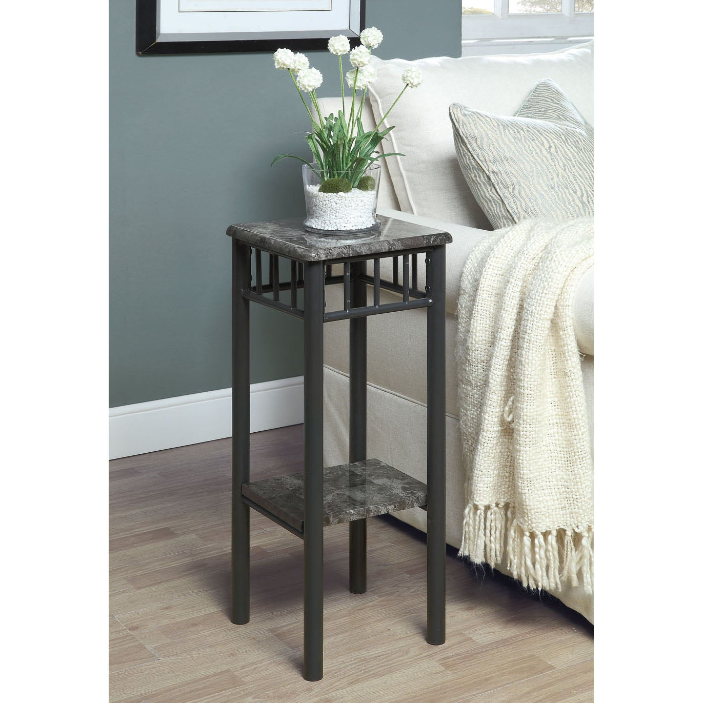 Grey Marble/ Charcoal Metal Plant Stand