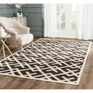 Safavieh Hand-woven Moroccan Reversible Dhurrie Chocolate/ Ivory Wool Area Rug (9' x 12')