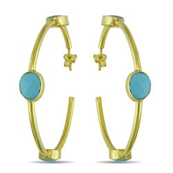 Miadora 22k Goldplated Silver 10ct TGW Turquoise Hoop Earrings