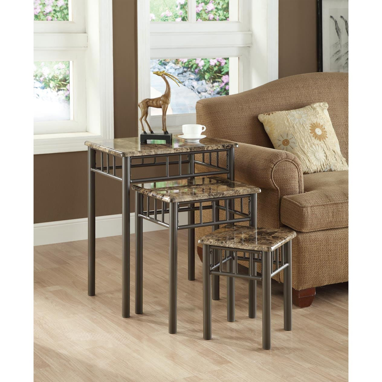 Cappuccino Marble/ Bronze Metal 3-piece Nesting Table Set