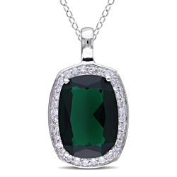 Miadora Sterling Silver Green Glass and Cubic Zirconia Fashion 18-inch Necklace
