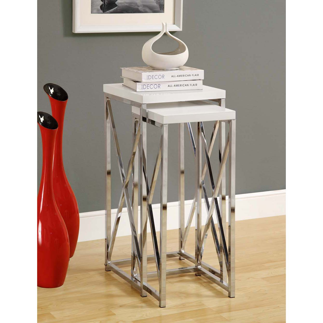 Glossy White/ Chrome Metal 2-piece Plant Stand Set