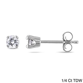 Miadora 14k Gold Men's 1/4ct to 1ct TDW Diamond Stud Earrings (J-K, I2-I3)