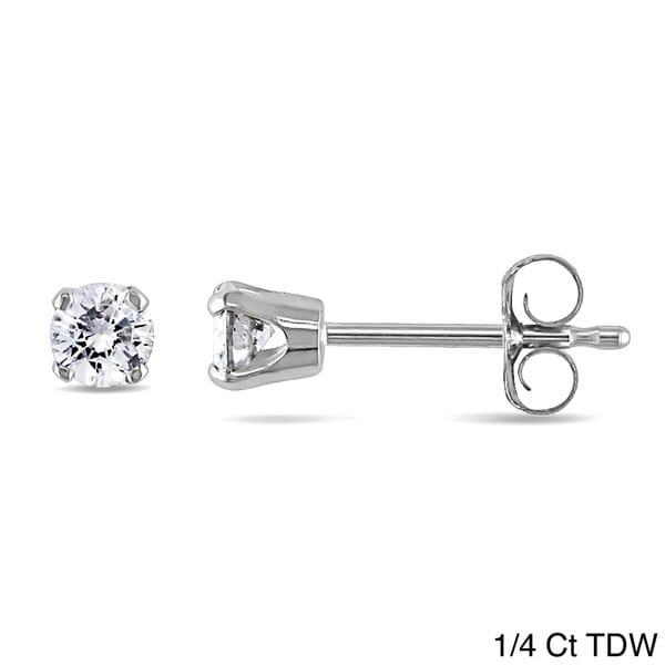 14k White Gold Men's Round Diamond Stud Earrings