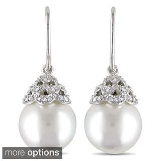 Miadora 14k Gold South Sea Pearl and 1/10ct TDW Diamond Earrings (G-H, I1-I2) (10.5-11 mm)