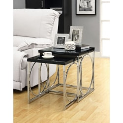 Glossy Black/ Chrome Metal 2-piece Nesting Table Set