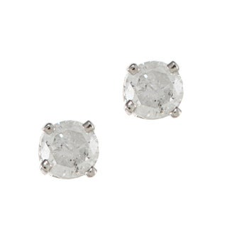 14K White Gold 1/8ct TDW Round Diamond Stud Earrings (H-I, I2)