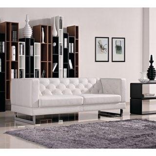 DG Casa Allegro White Synthetic Leather Sofa