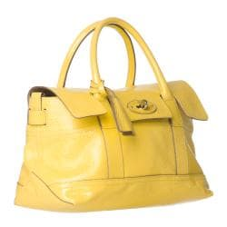 Mulberry 'Holiday' Small Lemon Patent Leather Satchel