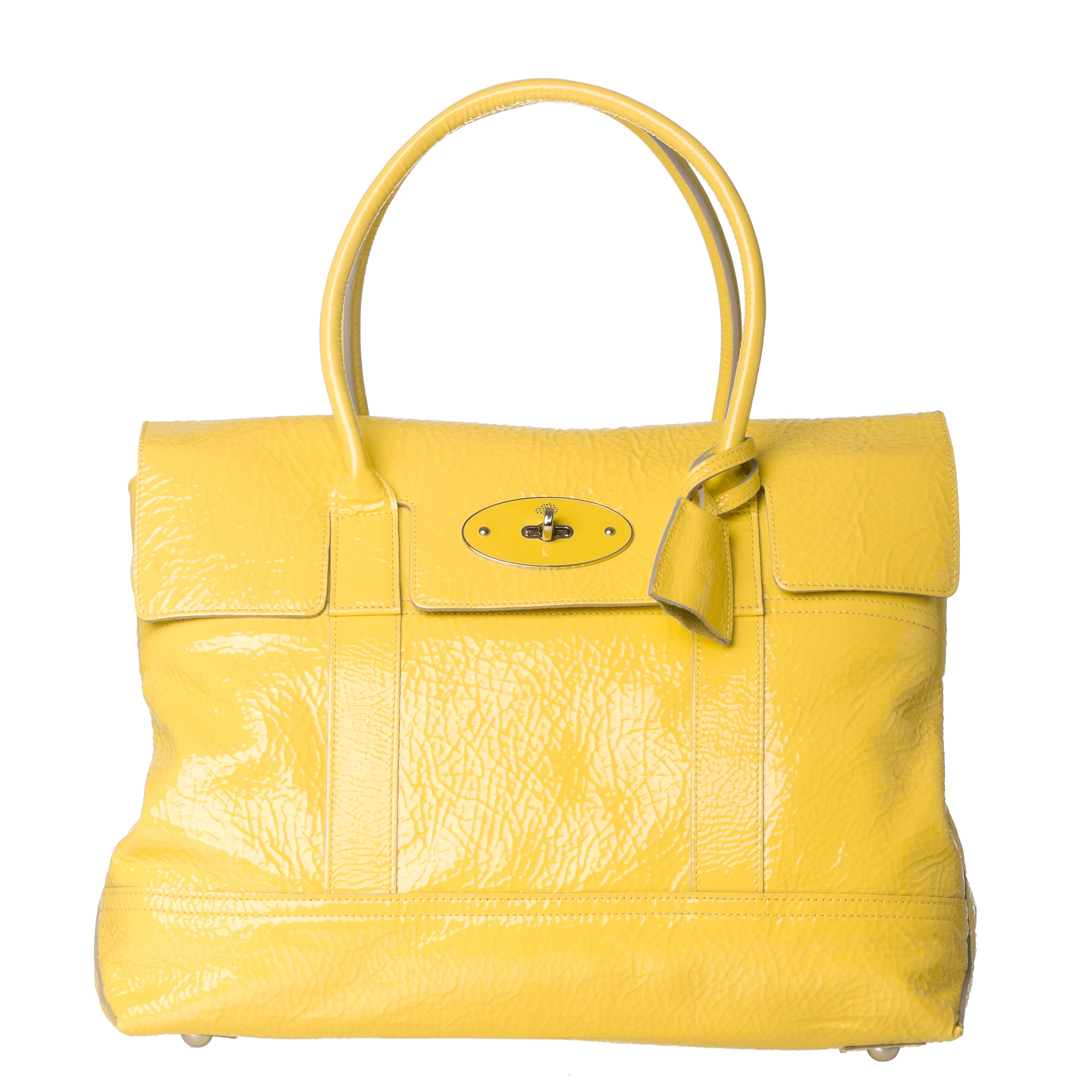 Mulberry 'Holiday Bayswater' Lemon Patent Leather Satchel