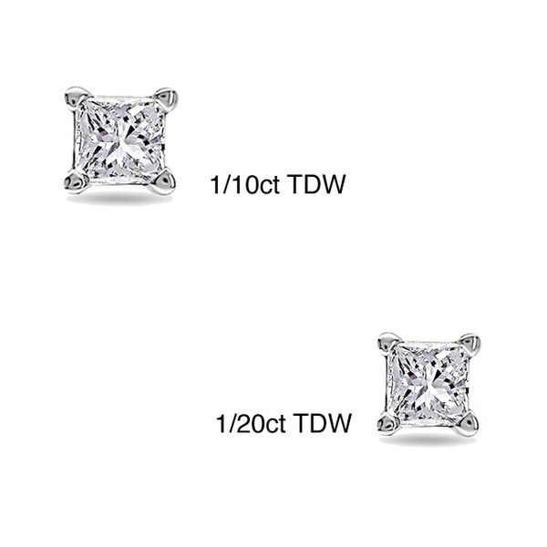 10k White Gold Tiny Princess Cut Single Diamond Earring (I-J, I1-I2)