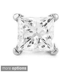 14k White Gold Princess Single Diamond Stud Earring (H-I, I2-I3)