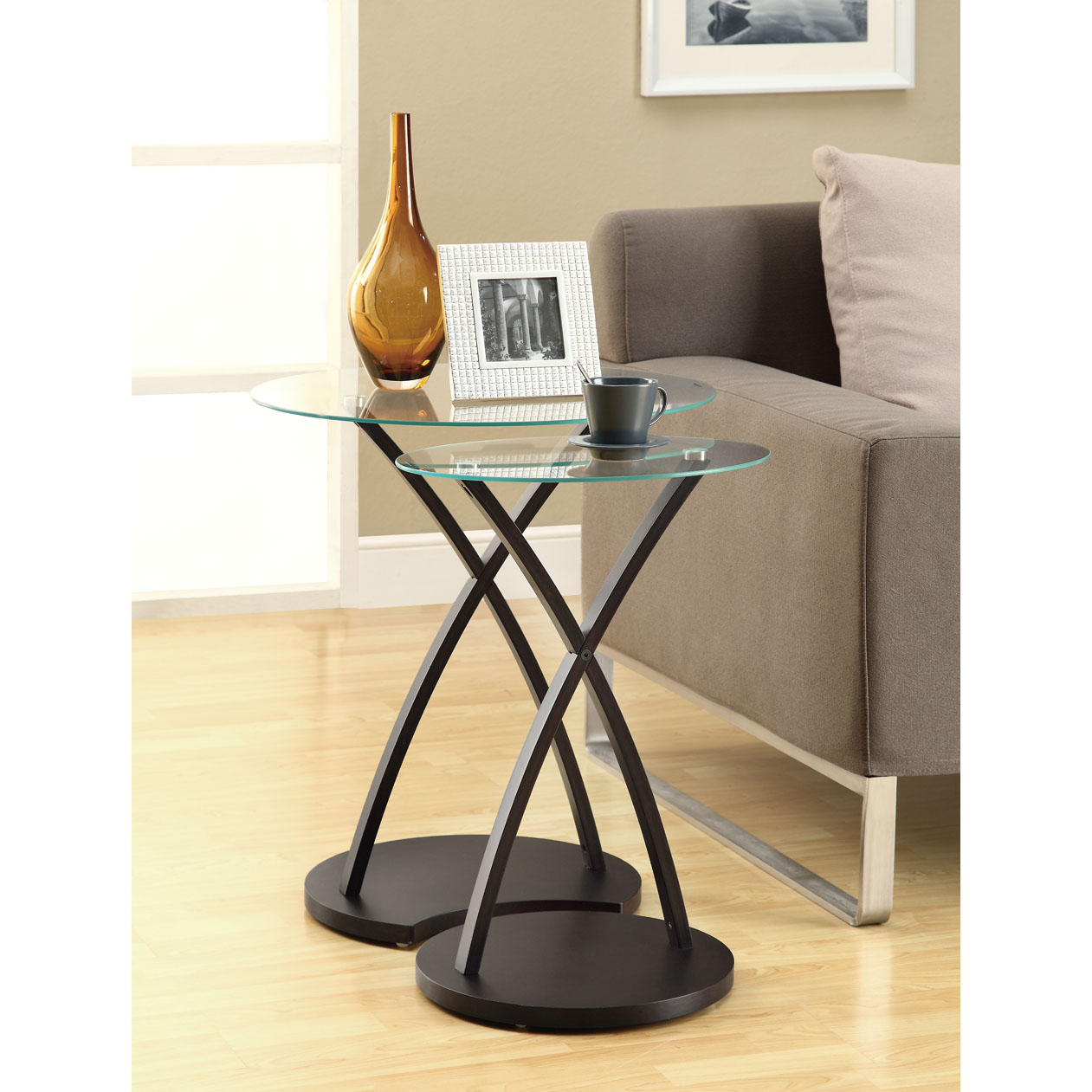 Cappuccino Bentwood 2-piece Nesting Table Set