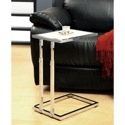 Chrome Metal Adjustable Height Accent Table