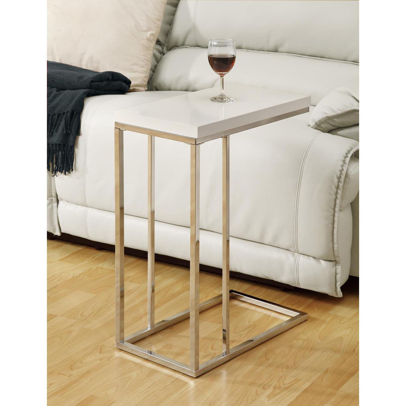 Glossy White/ Chrome Metal Accent Table