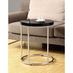 Glossy Black/ Chrome Metal Accent Table