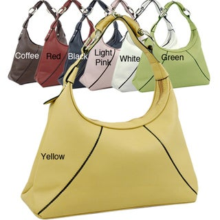 Dasein Ring Accent Zippered Fabric-lined Faux-leather Hobo Bag