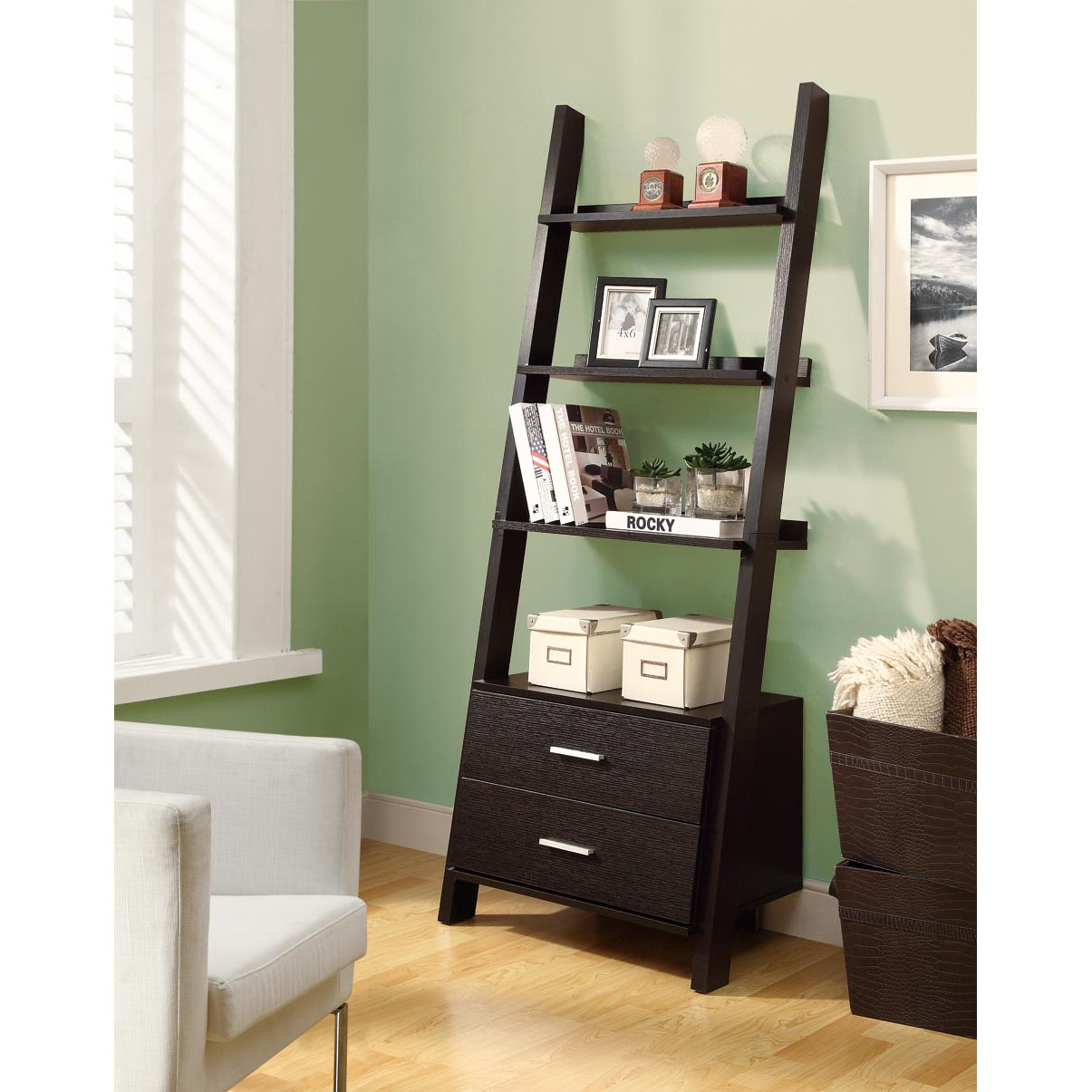 Cappuccino 69-inch Ladder Bookcase with Storage Drawers