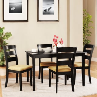 Wilmington Black Ladder Back Cushioned 5-piece Dining Set