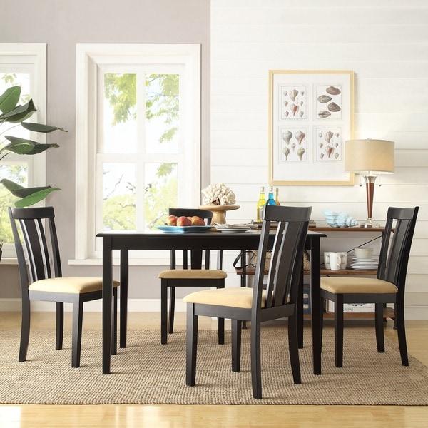 TRIBECCA HOME Wilmington Black Slat Back Cushioned 5-piece Dining Set