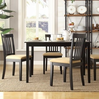 TRIBECCA HOME Wilmington Black Mission Back Cushioned 5-piece Dining Set