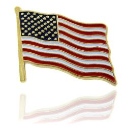 Dolce Giavonna Goldtone Enamel American Flag Lapel Pin