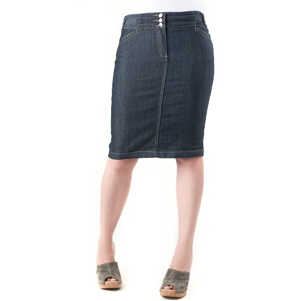 Tabeez Women's 3-Button Denim Skirt