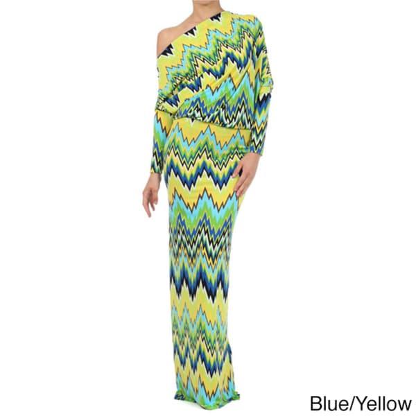 Tabeez Women's Off Shoulder Striped Jersey Maxi Dress