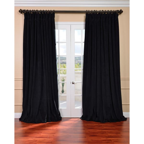Warm Black Velvet Blackout Extra Wide Curtain Panel