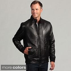 Izod Men's Lambskin Leather Elastic Waist Jacket