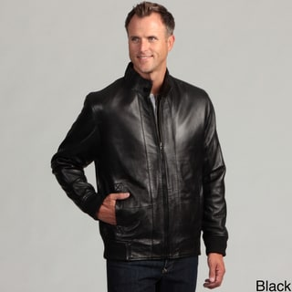 Izod Men's Lambskin Leather Elastic Waist Jacket