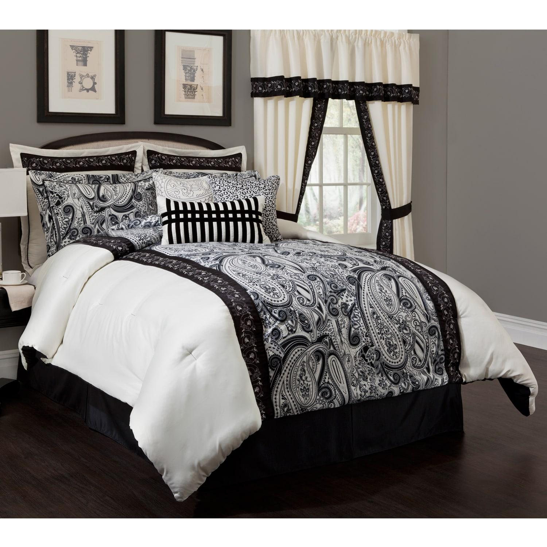 dalya black cream paisley 4 piece comforter set dalya black cream
