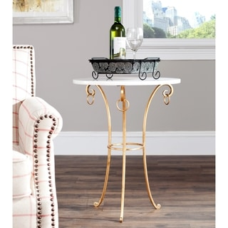 Safavieh Hidden Treasures White Granite Brass/Iron Accent Table