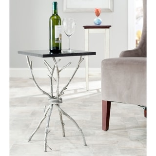 Safavieh Hidden Treasures Black Granite Silver Square Accent Table